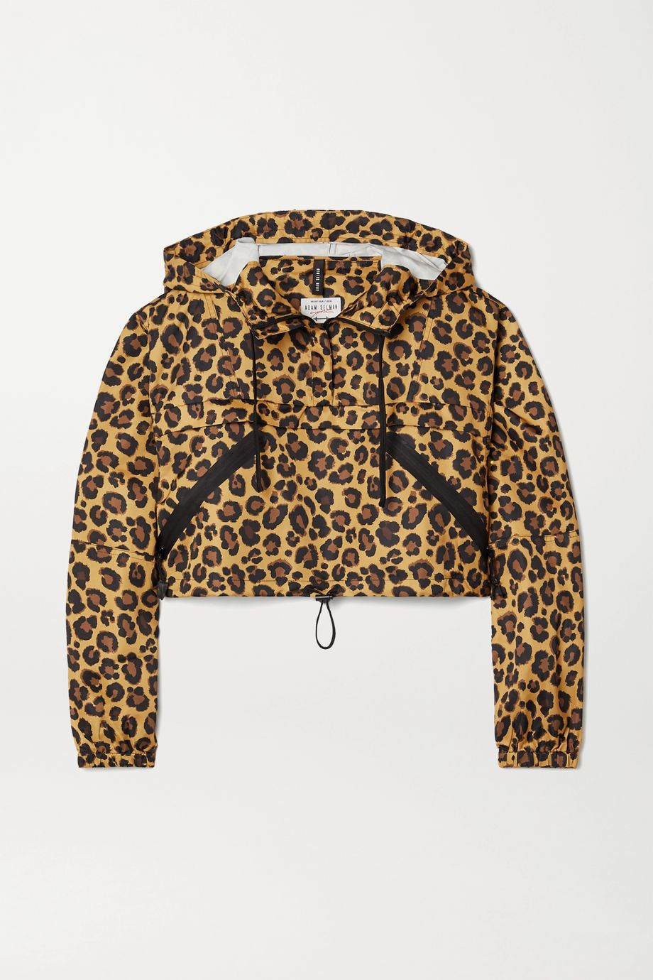 Adam Selman Sport Verkürzter Hoodie aus Shell mit Leopardenprint