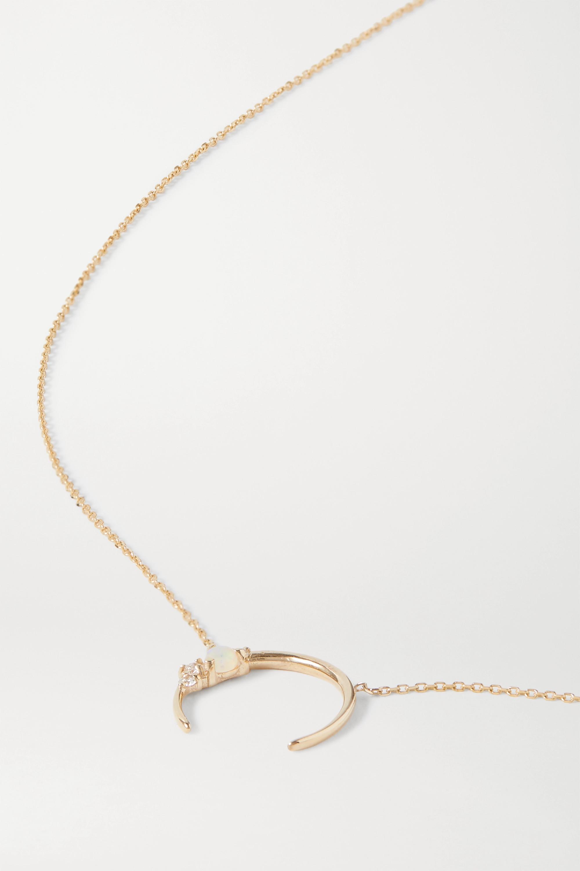 SARAH & SEBASTIAN Chroma 10-karat gold, diamond and opal necklace