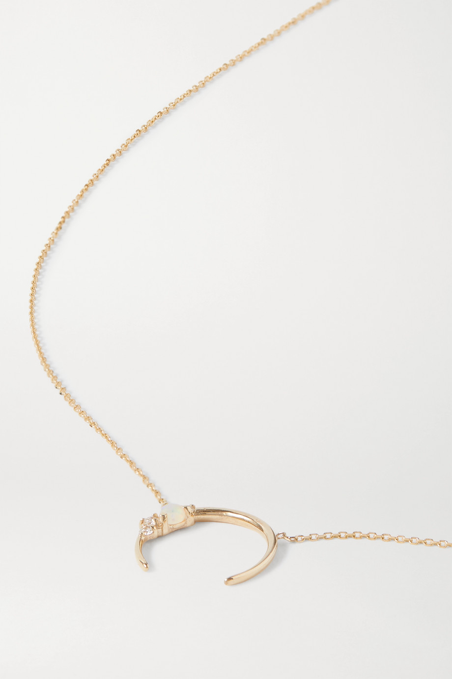 SARAH & SEBASTIAN Chroma 10-karat gold, diamond and opal necklace