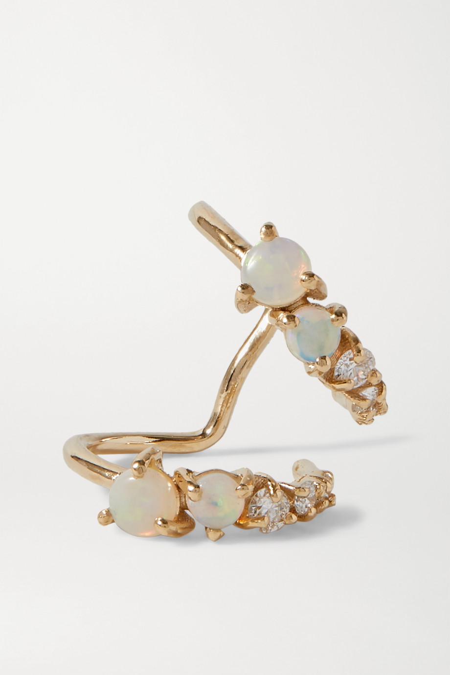 SARAH & SEBASTIAN Chroma gold, opal and diamond ear cuff