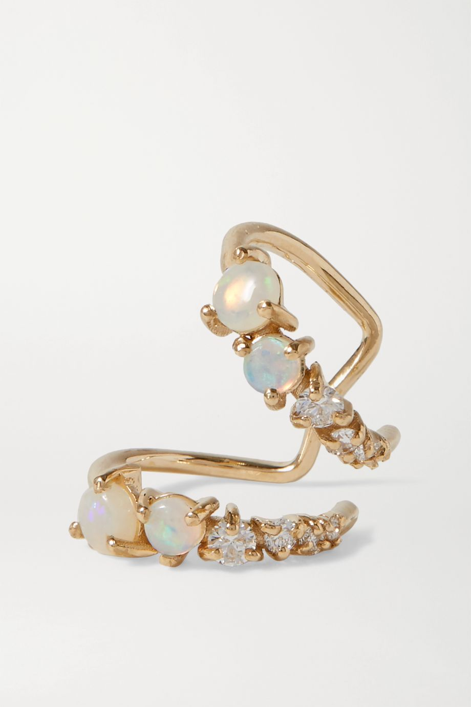 SARAH & SEBASTIAN Chroma 黄金、蛋白石、钻石单只耳骨夹