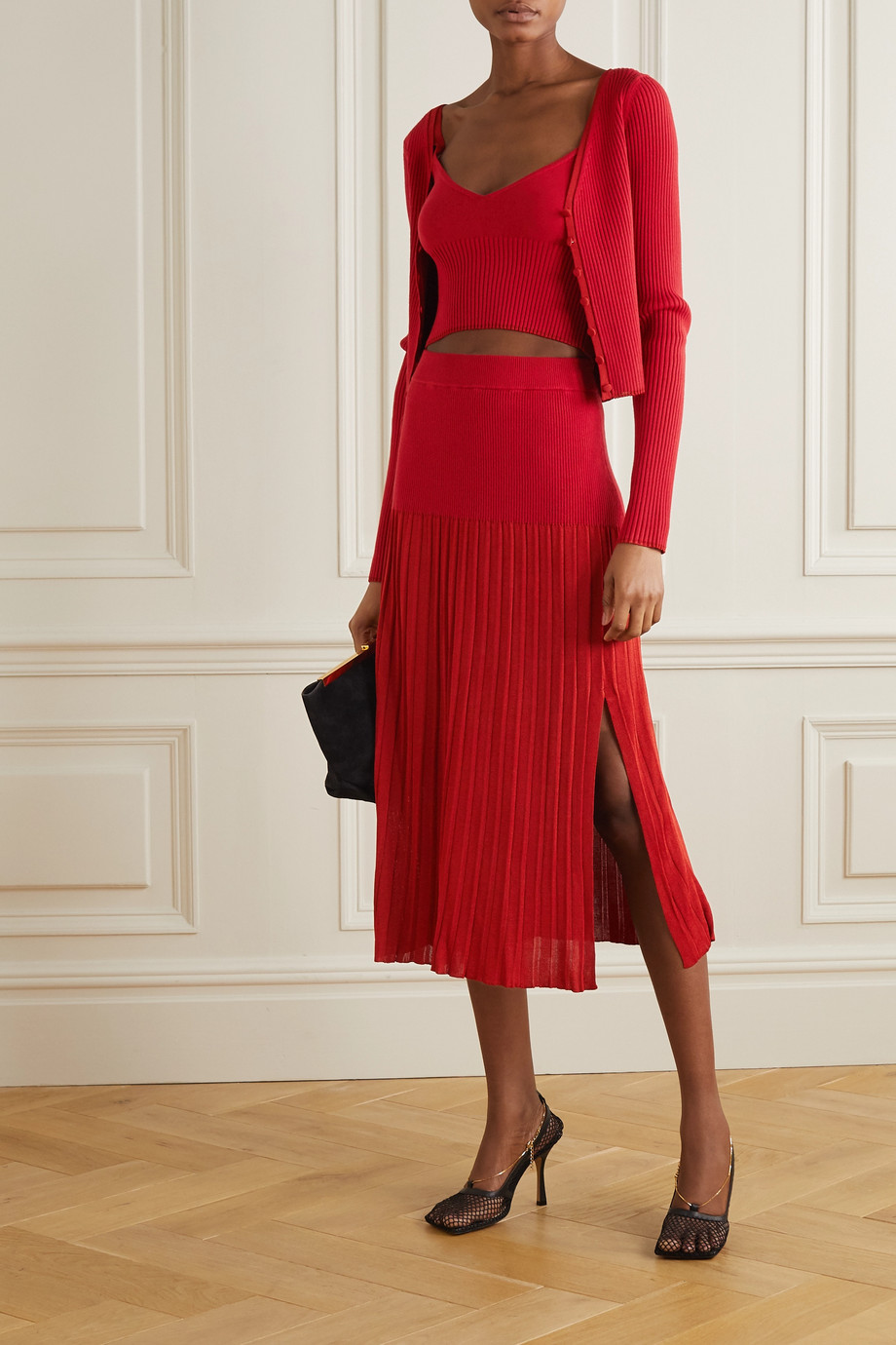 Altuzarra Ada cropped ribbed stretch-knit top