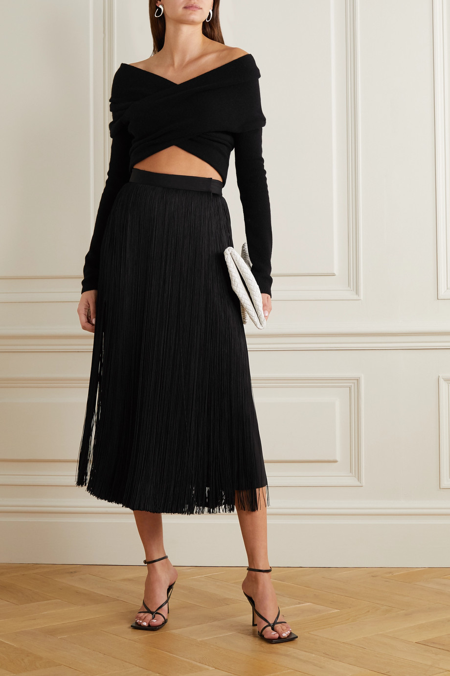 Altuzarra Virginia off-the-shoulder wrap-effect wool and cashmere-blend sweater