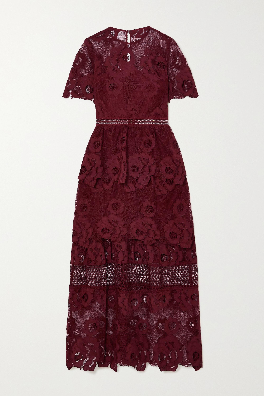 Self-Portrait Tiered guipure lace maxi dress