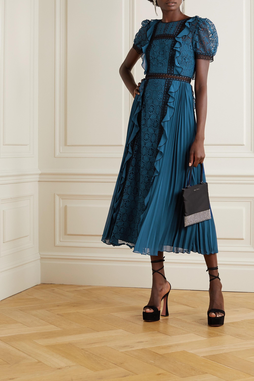 Self-Portrait Ruffled guipure lace and pleated crepe midi dress
