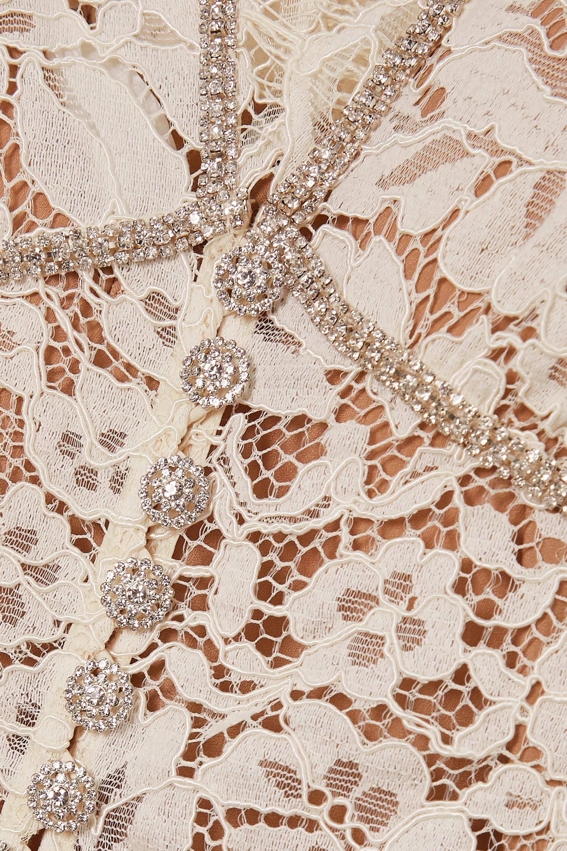 Self-Portrait Camellia crystal-embellished cotton-blend corded lace midi dress