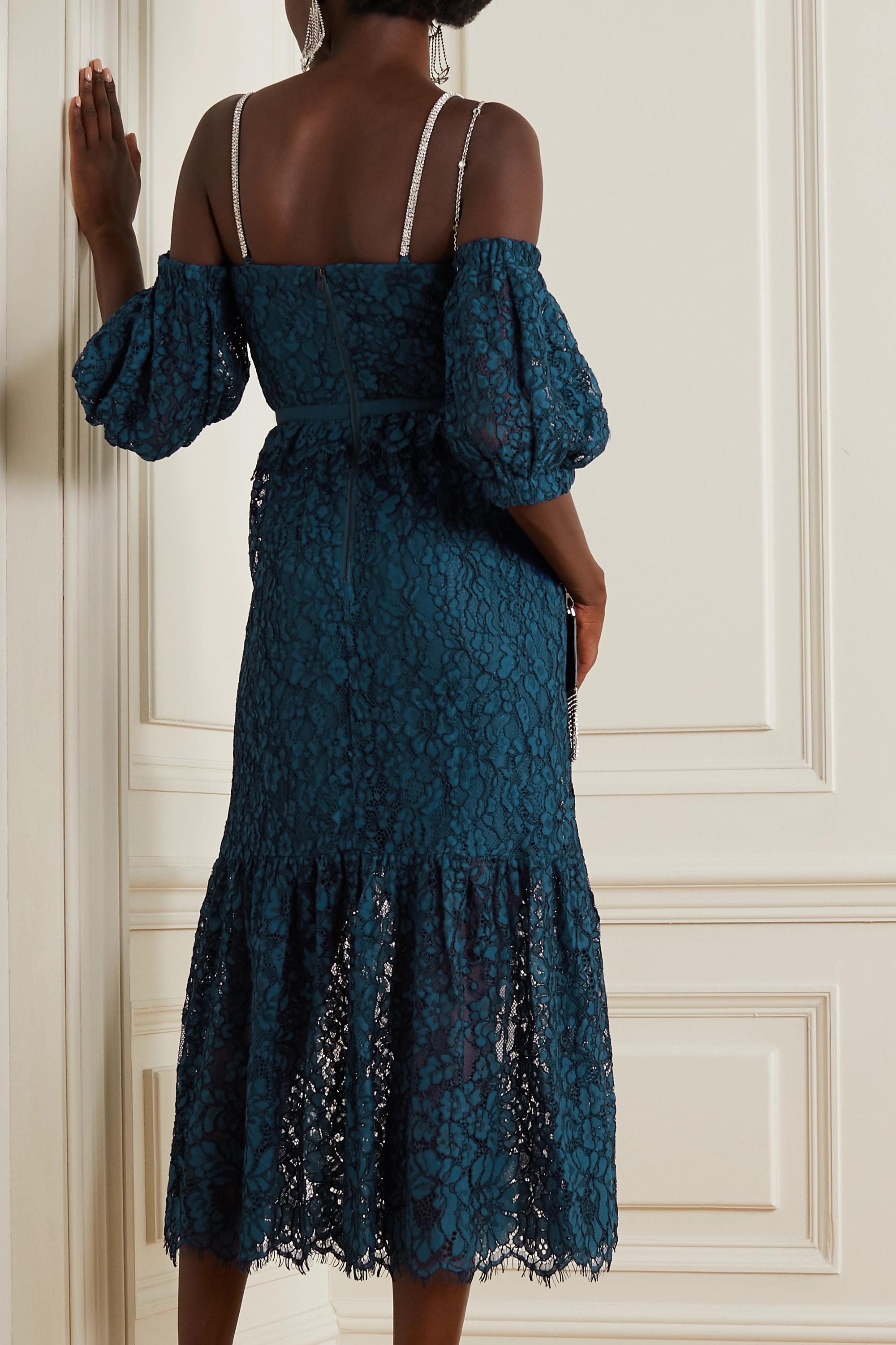 Self-Portrait Cold-shoulder crystal-embellished corded lace midi dress
