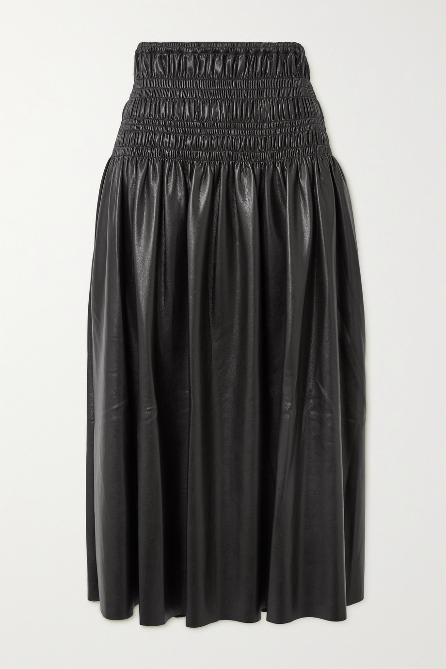 Self-Portrait Shirred faux leather midi skirt