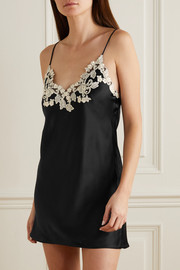 La Perla Maison embroidered lace-trimmed silk-satin chemise
