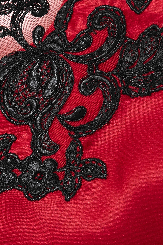 La Perla Maison embroidered lace-trimmed silk-satin chemise