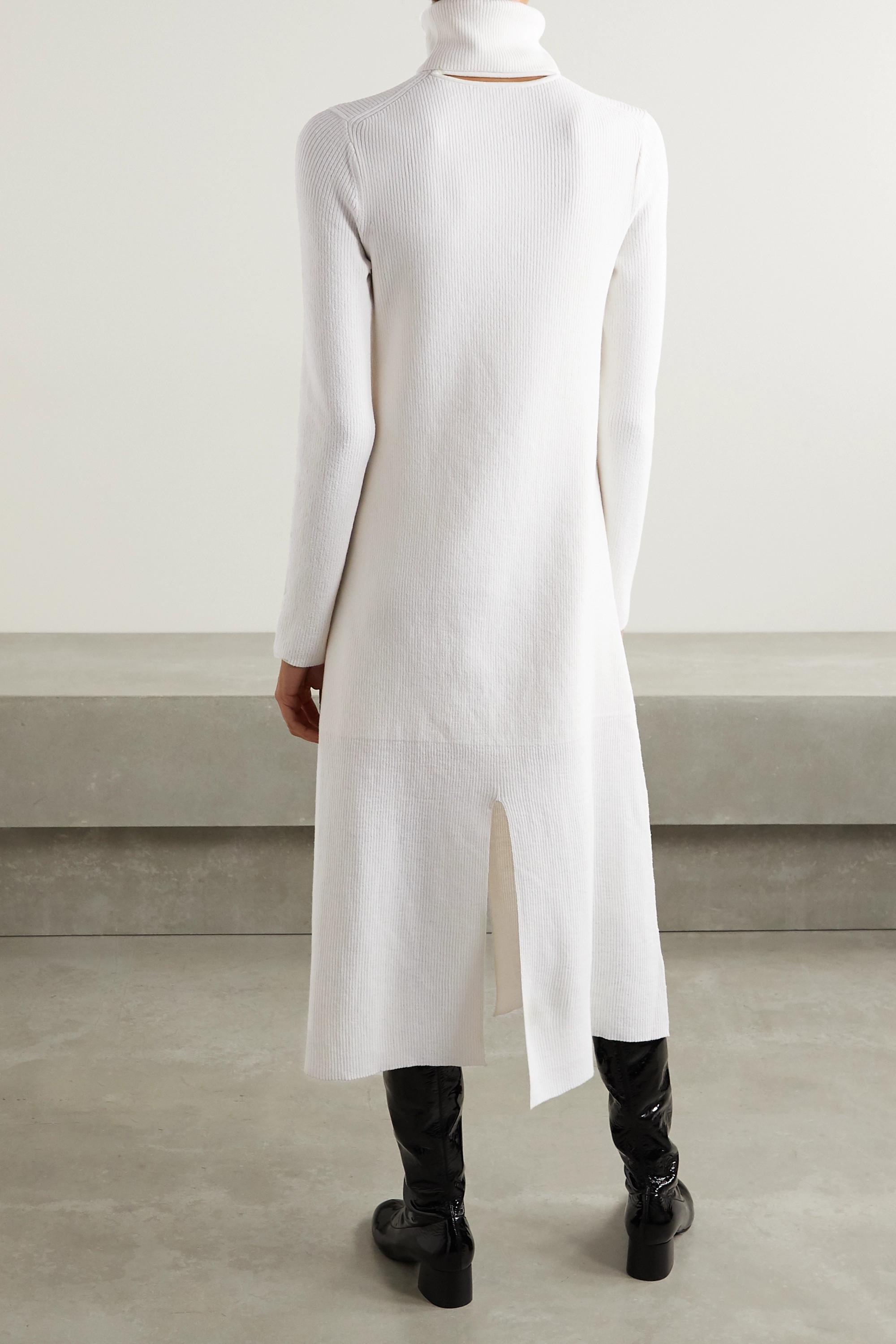 Tibi Flo ribbed wool-blend turtleneck midi dress