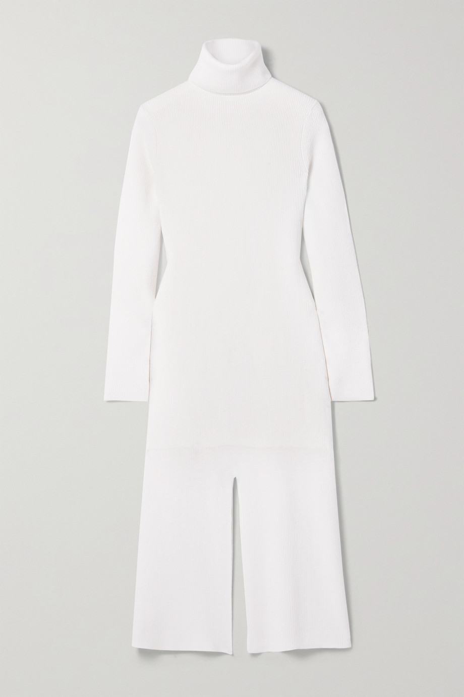 Tibi Flo ribbed wool-blend turtleneck midi dress