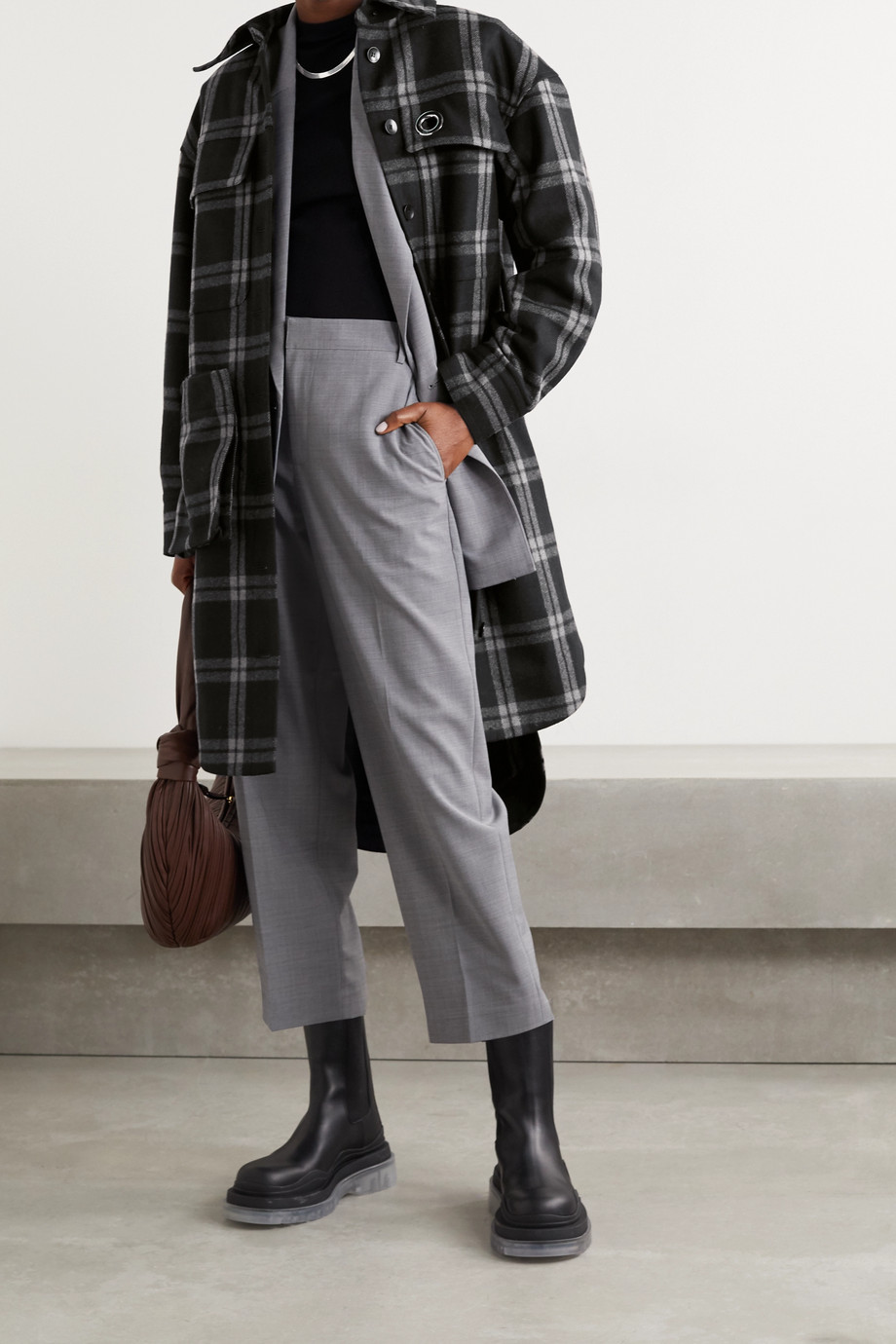 Tibi Chester oversized convertible checked wool-blend coat