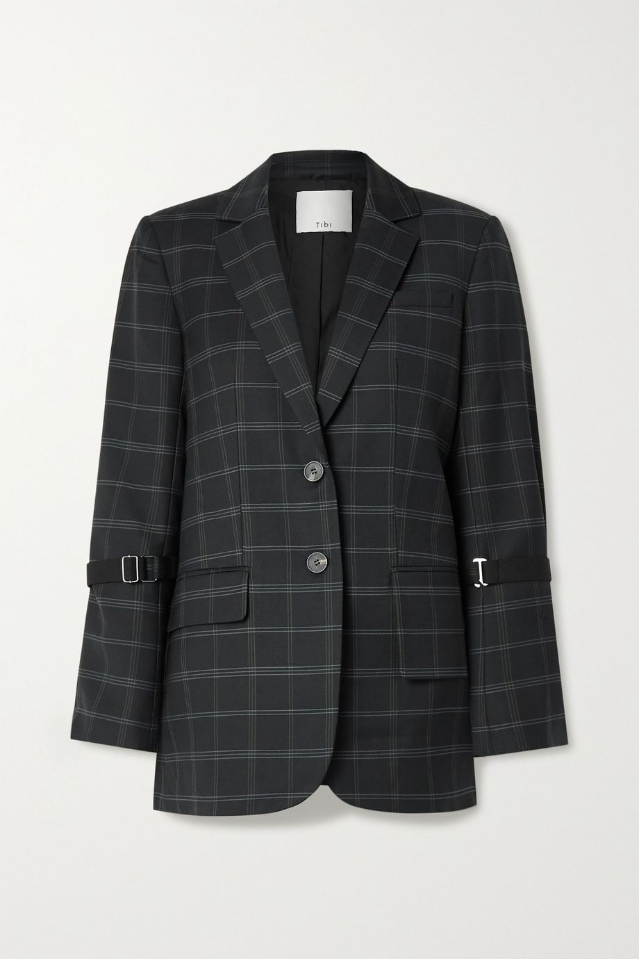 Tibi Finn checked twill blazer