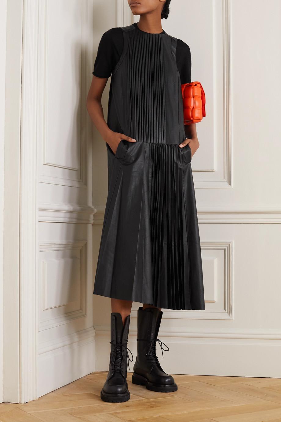Tibi Robe midi en cuir synthétique à plis couchés
