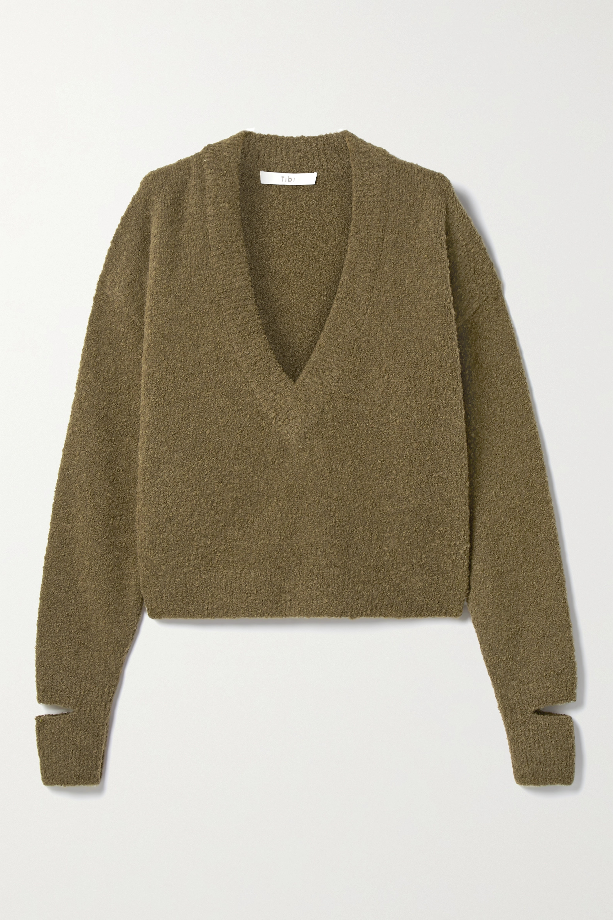 Tibi Cropped alpaca-blend bouclé sweater