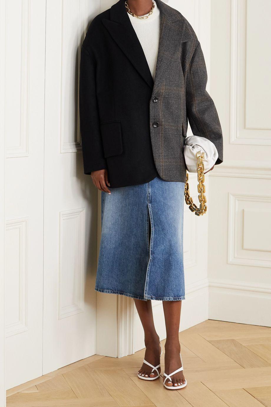 Tibi Liam 大廓形格纹羊毛混纺西装外套