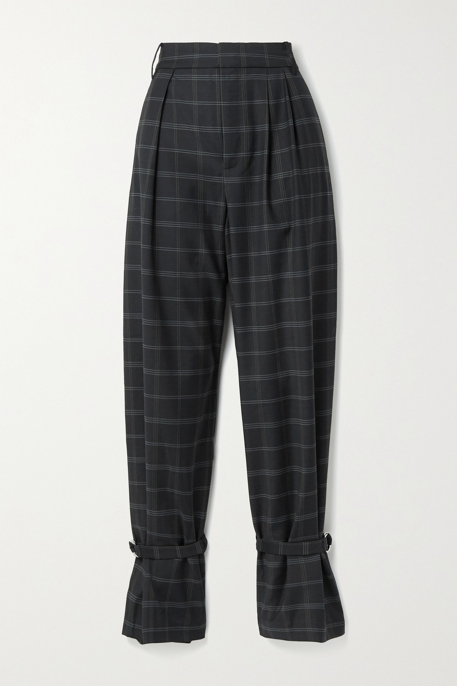 Tibi Finn pleated checked twill tapered pants
