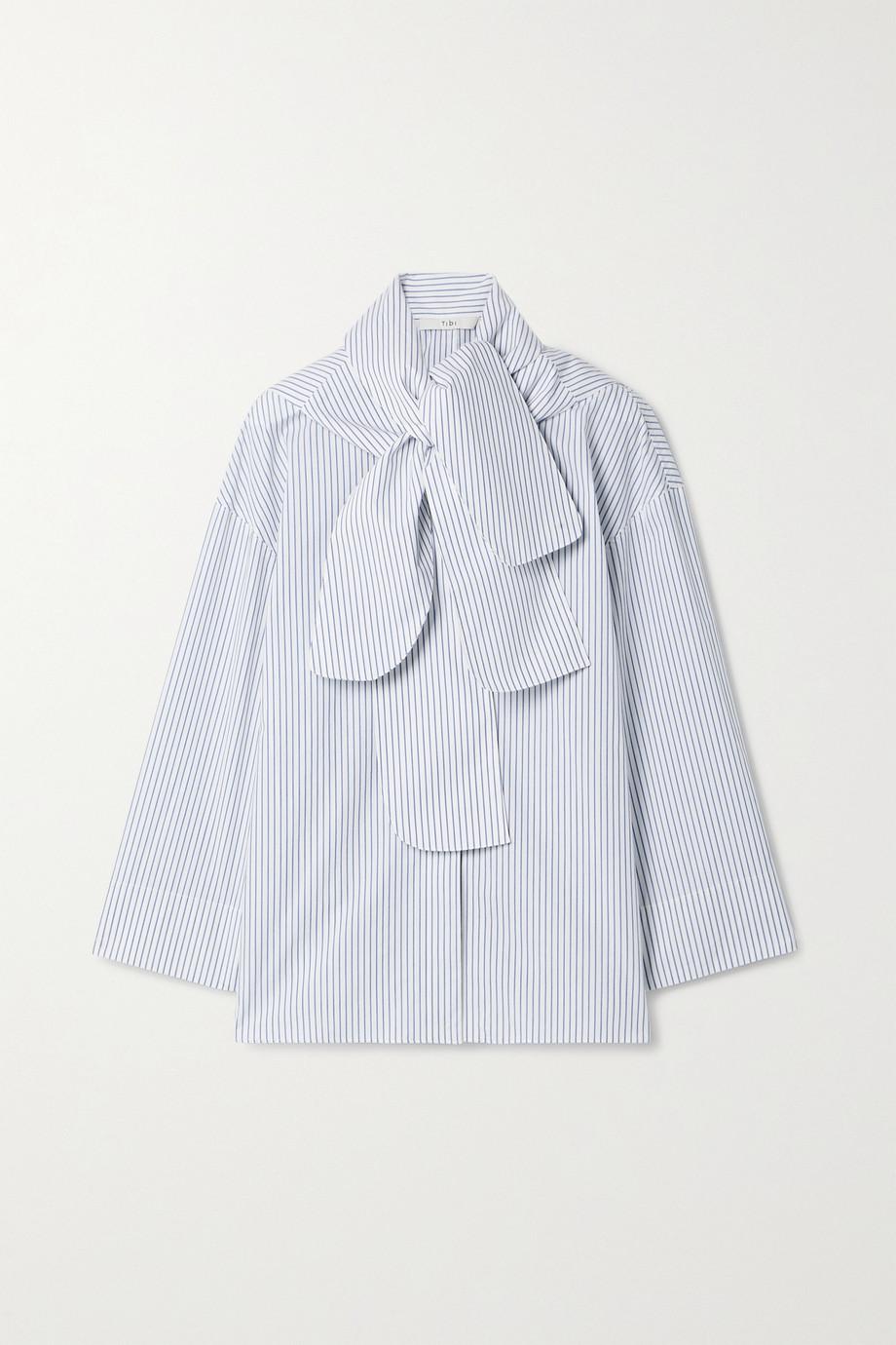 Tibi Jacob convertible striped cotton-poplin shirt