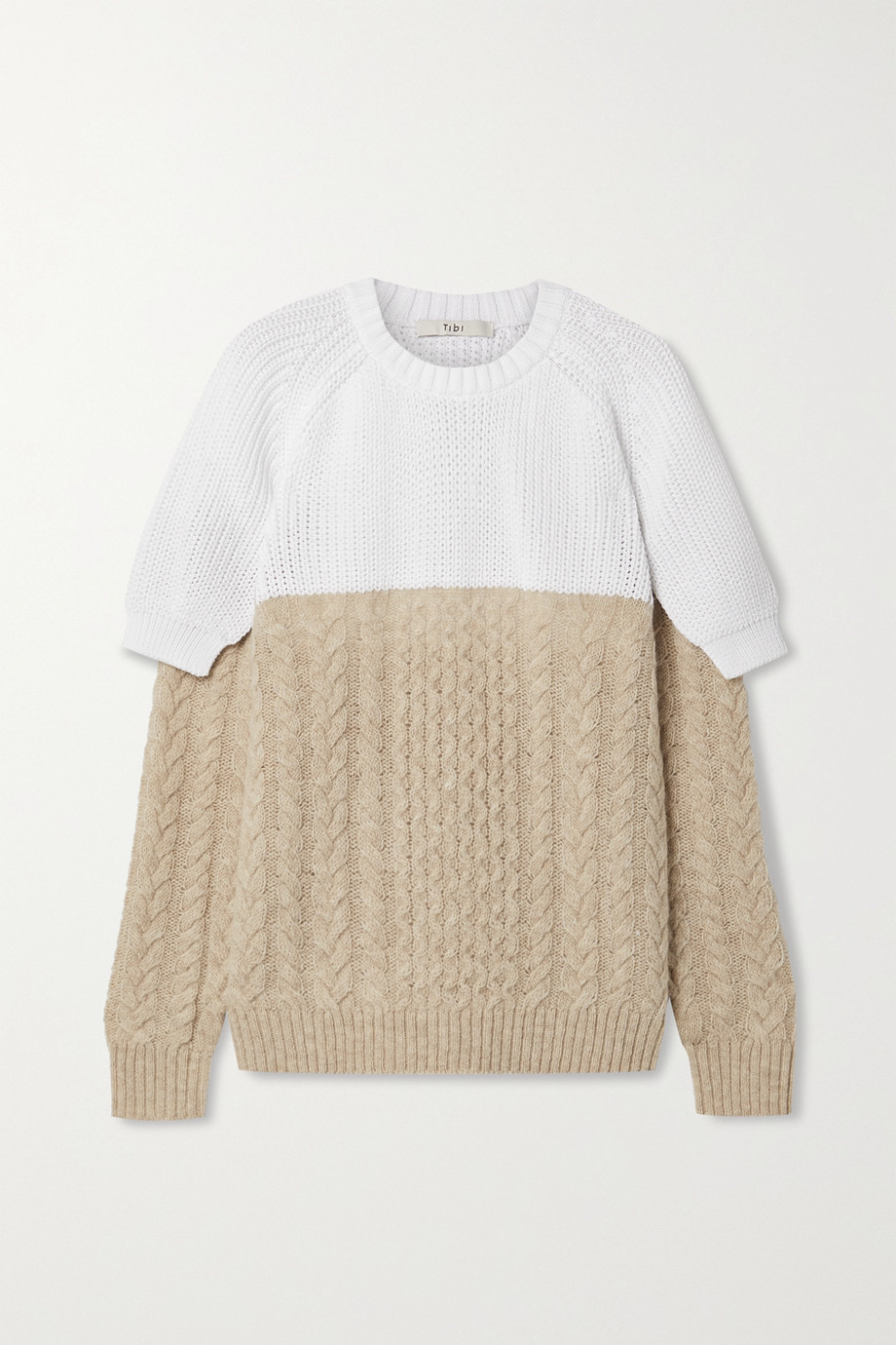 Tibi Layered two-tone cable-knit cotton and wool-blend sweater