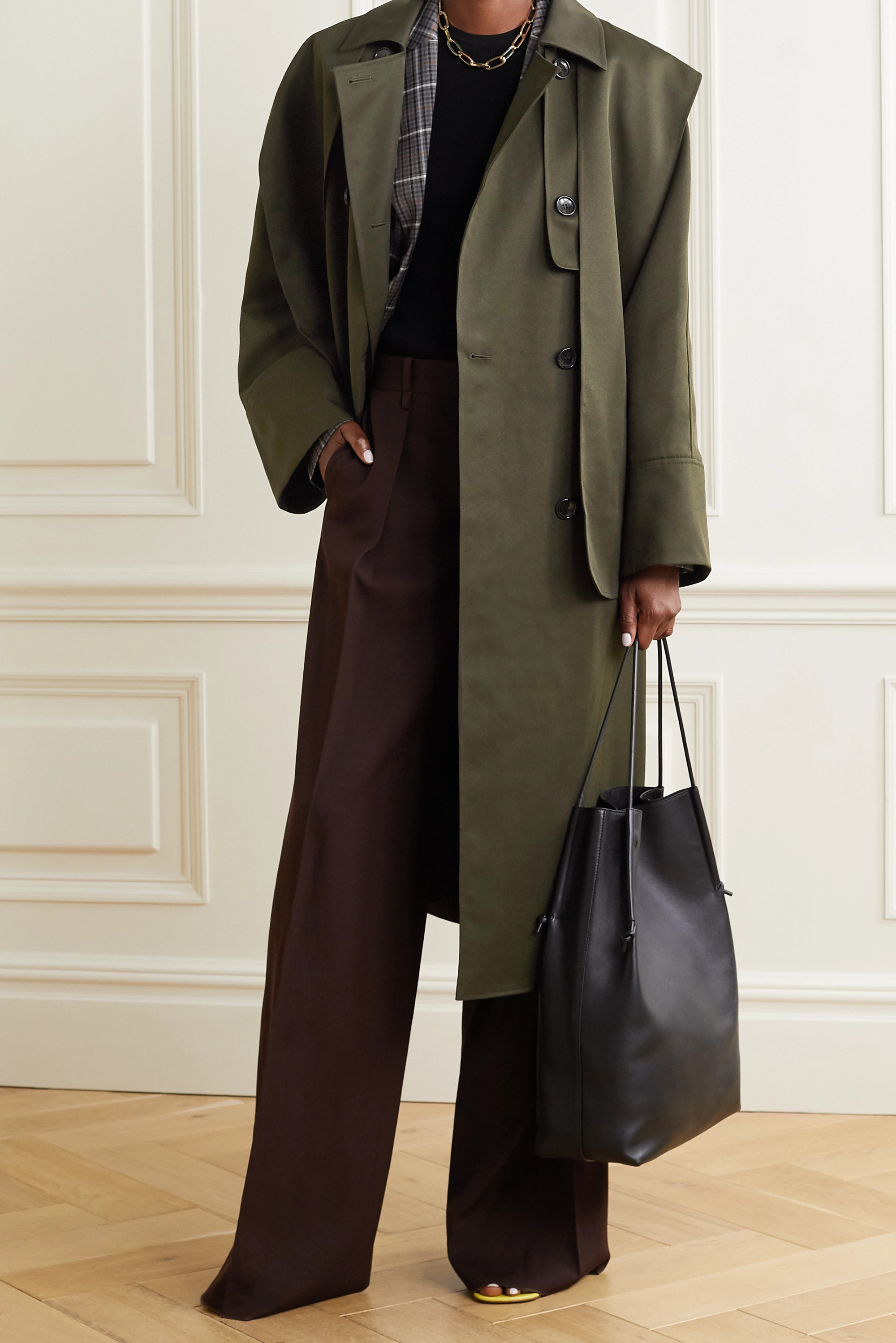 Tibi Layered double-breasted woven trench coat