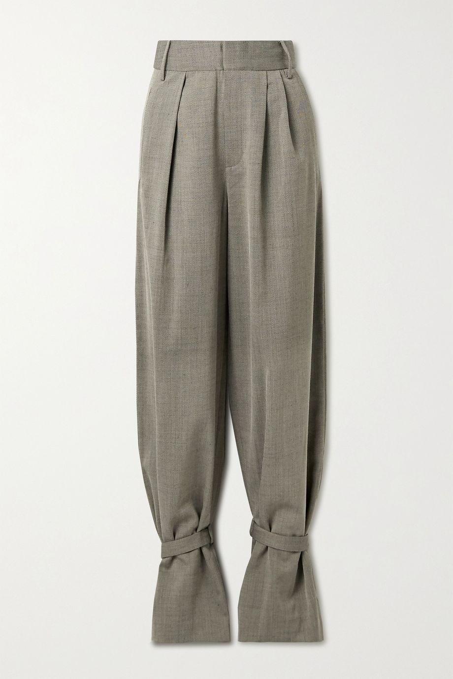 Tibi Pantalon fuselé en serge à plis Luka