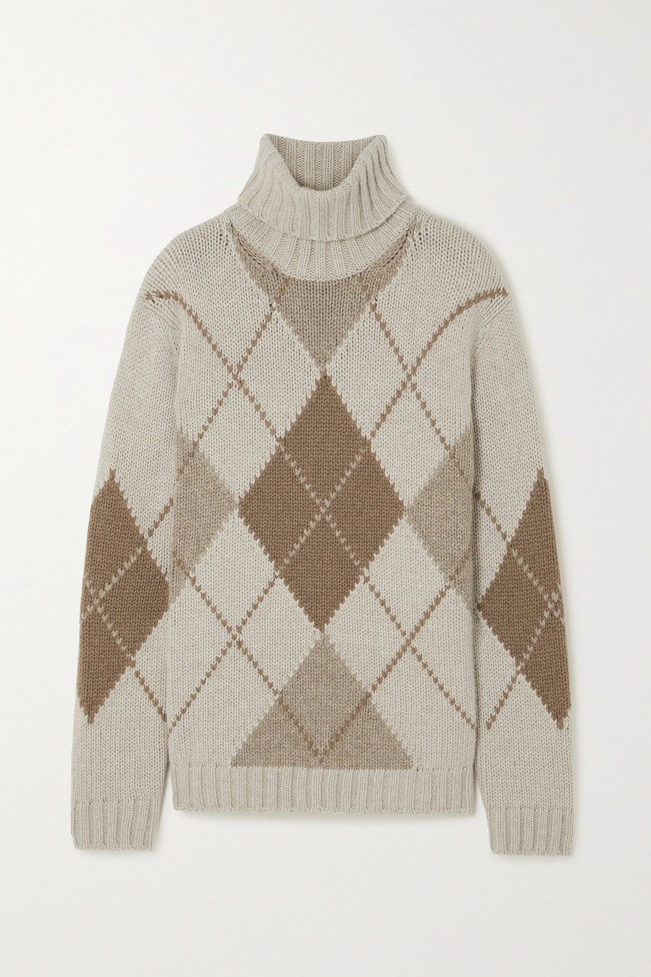 Loro Piana Macdougal argyle cashmere turtleneck sweater