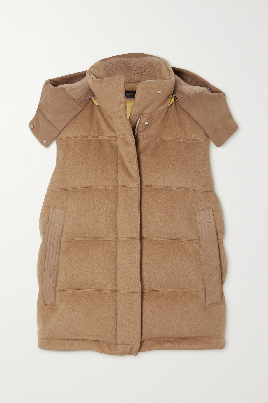 Loro Piana Meven hooded shearling-trimmed quilted cashmere vest