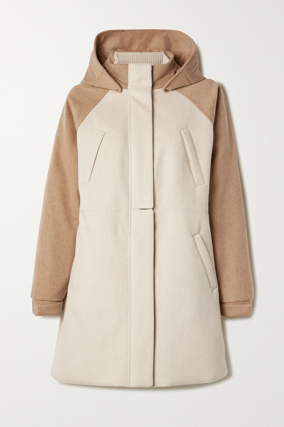 Loro Piana Hooded leather-trimmed cashmere coat