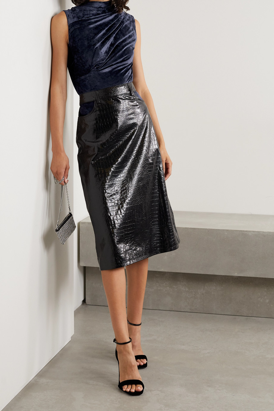 RtA Julie draped cutout velvet bodysuit