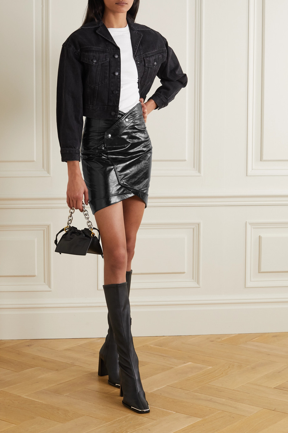 RtA Paloma crinkled glossed-leather wrap mini skirt