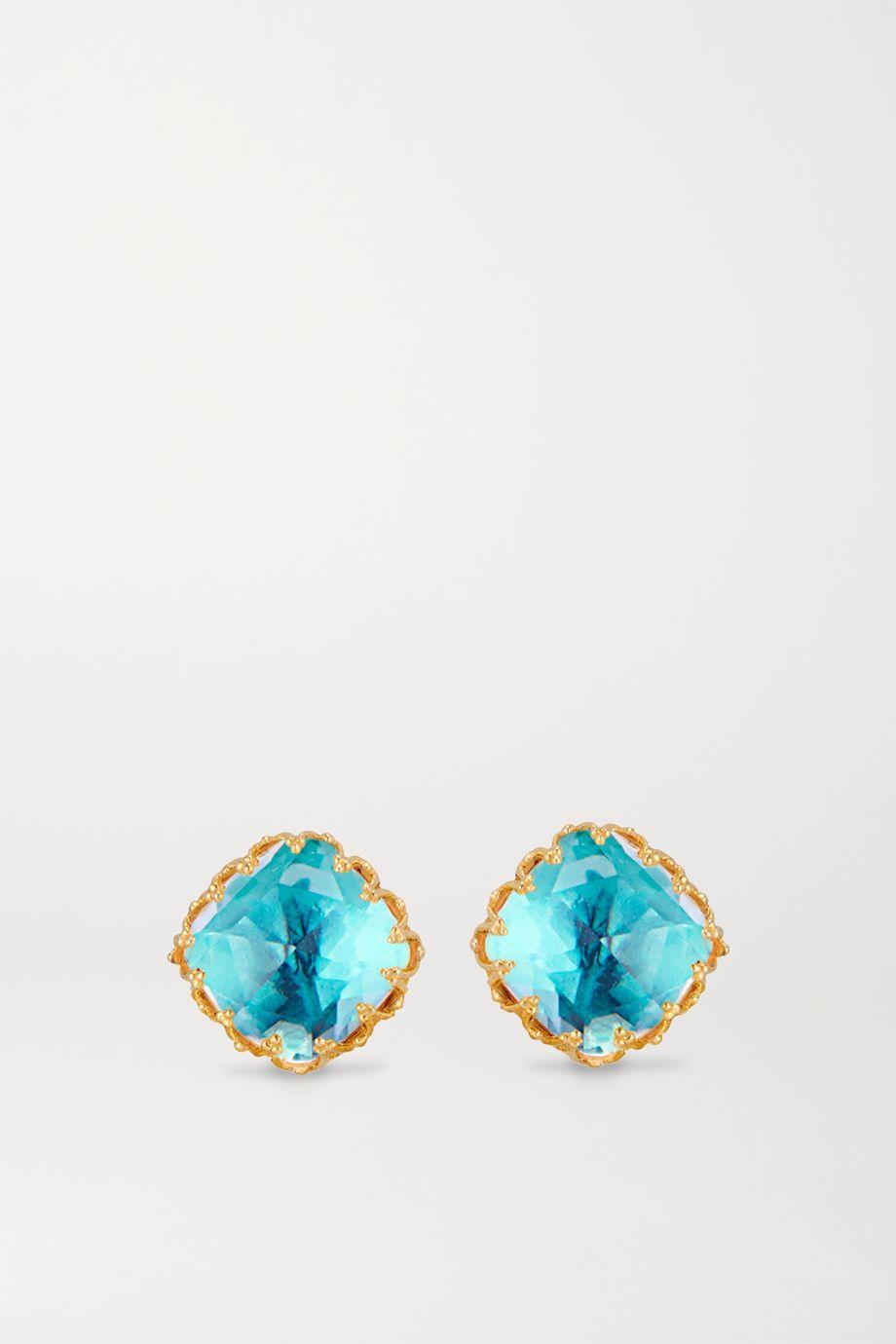Larkspur & Hawk Jane small 18-karat gold-dipped quartz earrings