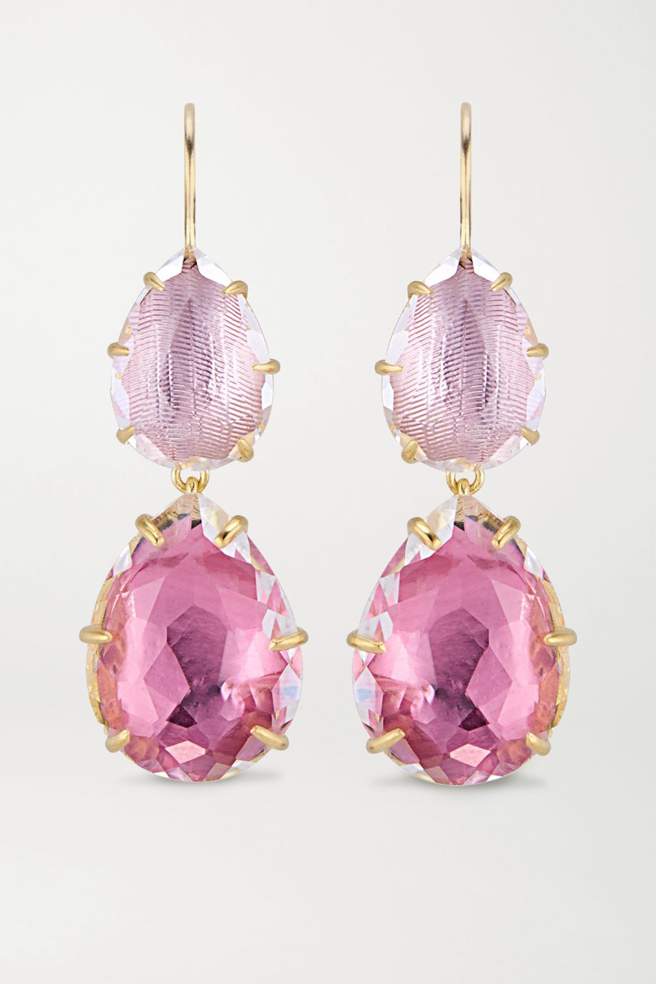 Larkspur & Hawk Caterina Large Double Drop 18-karat gold-washed white quartz earrings