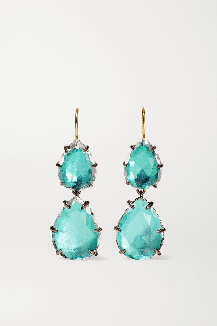 Larkspur & Hawk Caterina Large Double rhodium-dipped quartz earrings