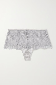 I.D. Sarrieri Satin-trimmed embroidered tulle briefs