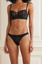 I.D. Sarrieri Guipure lace, tulle and microfiber underwired soft-cup bra