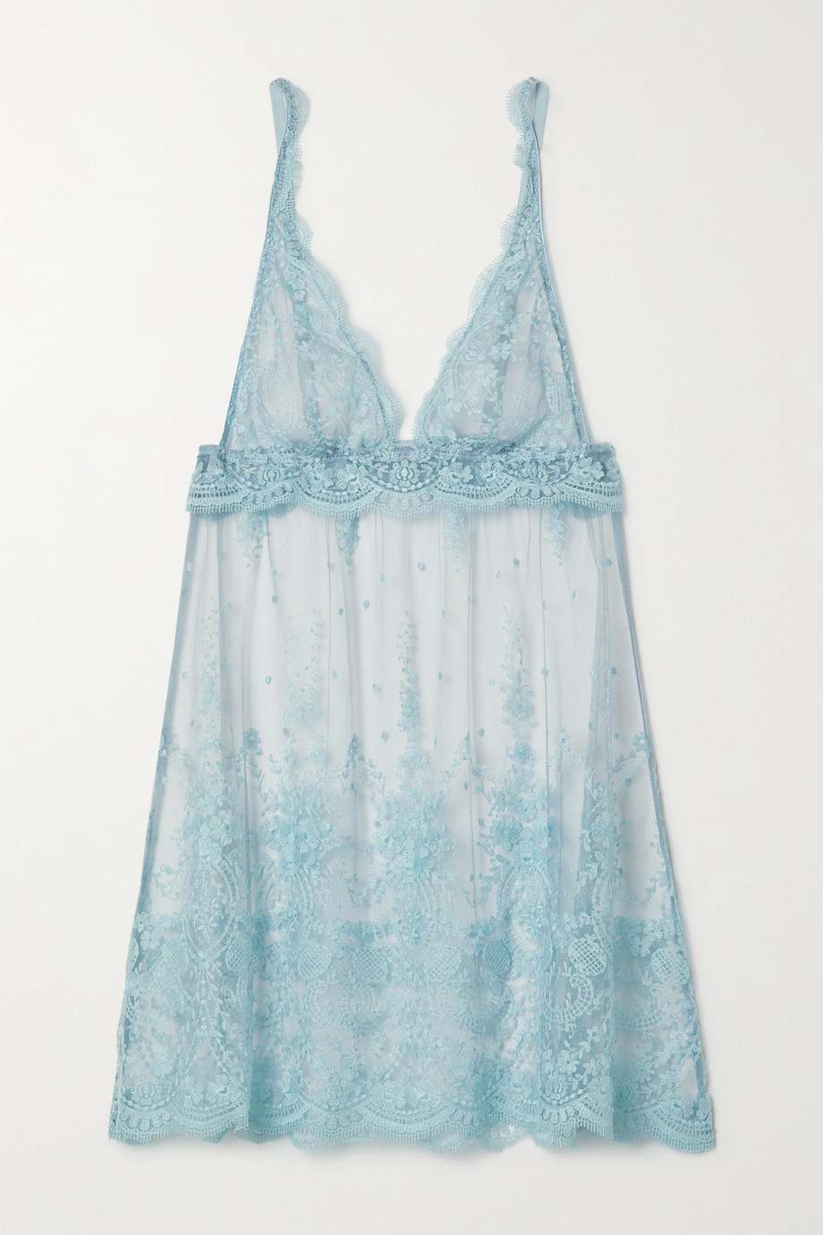 I.D. Sarrieri Embroidered tulle chemise
