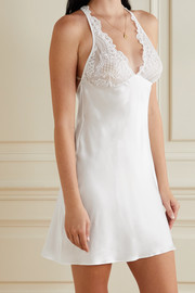 I.D. Sarrieri Lasting Love embroidered tulle-trimmed silk-blend satin chemise