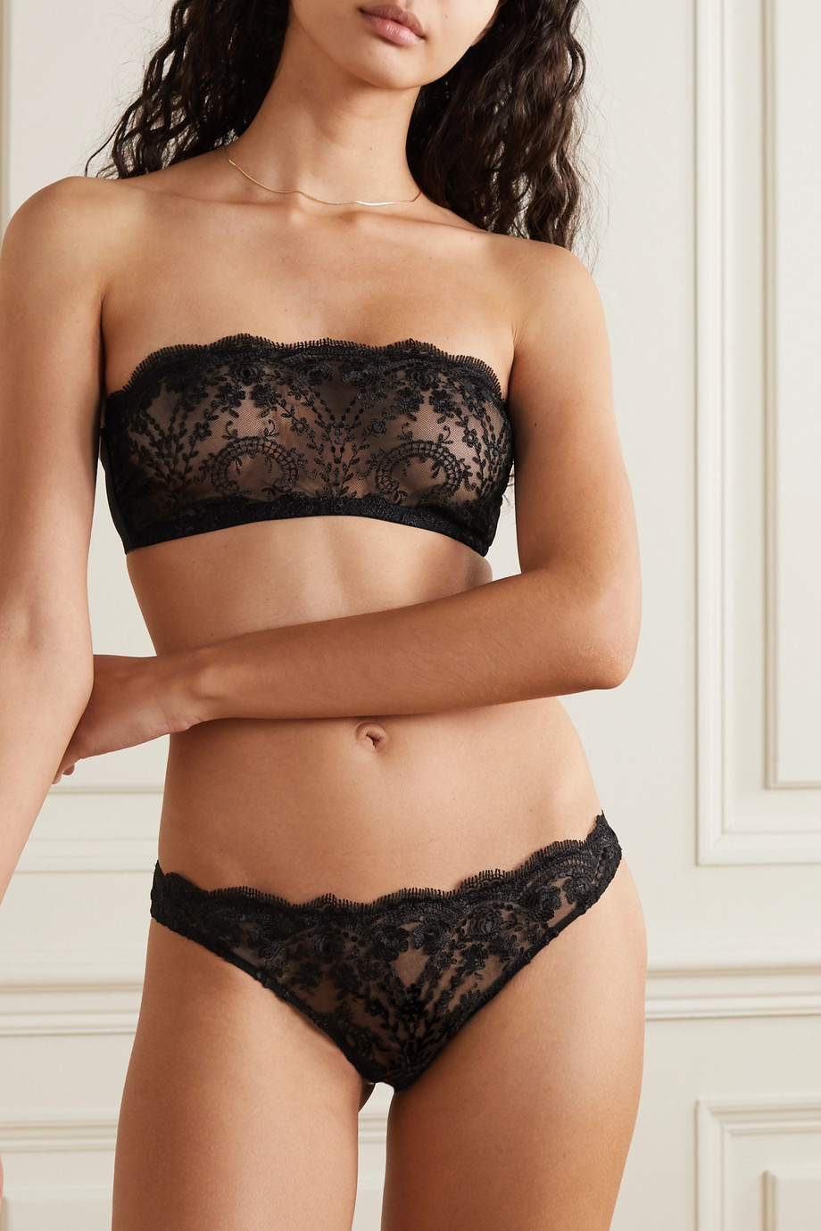I.D. Sarrieri Embroidered tulle bandeau bra