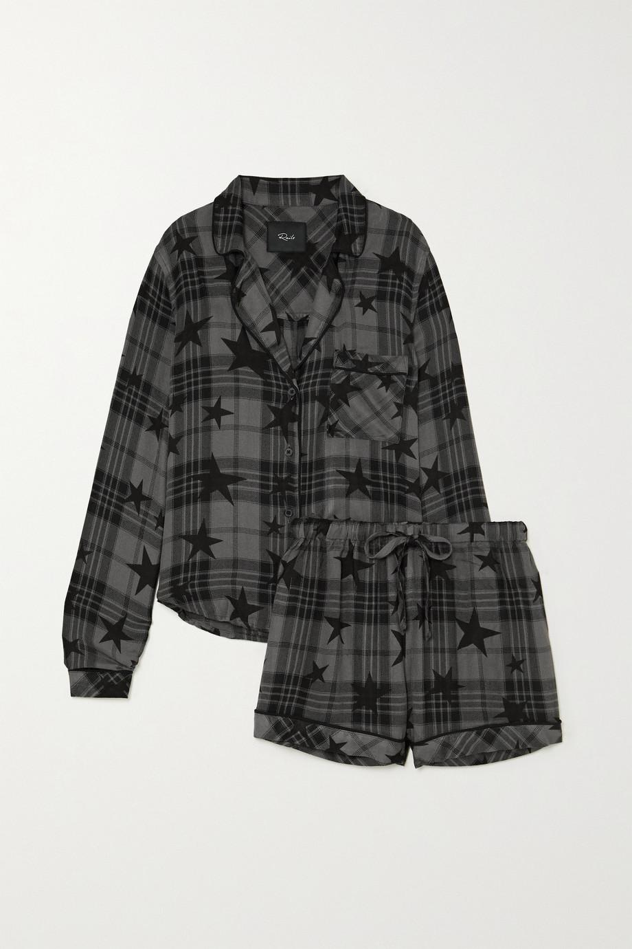 Rails Kellen Pyjama aus kariertem Flanell mit Print