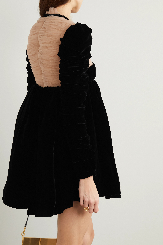 Khaite Ann tie-detailed ruched velvet and tulle mini dress