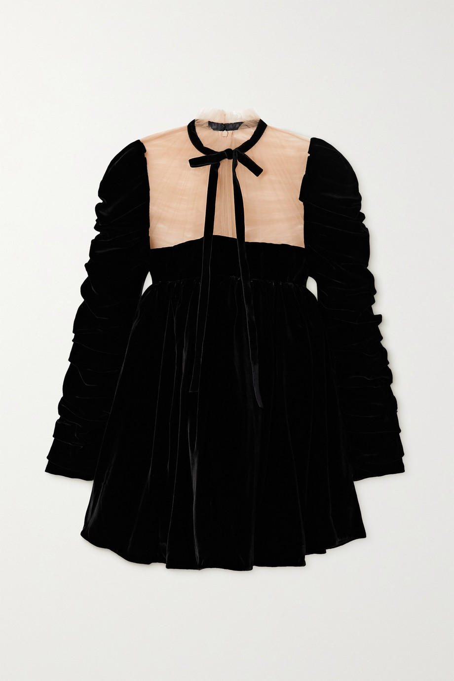 Khaite Ann tie-detailed ruched velvet and tulle mini dress