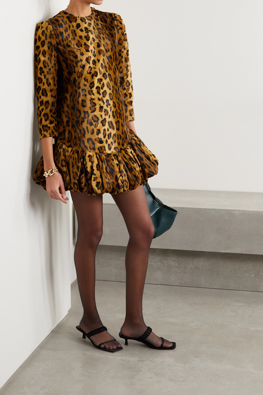 Khaite Lorie leopard-print cotton-blend velvet mini dress