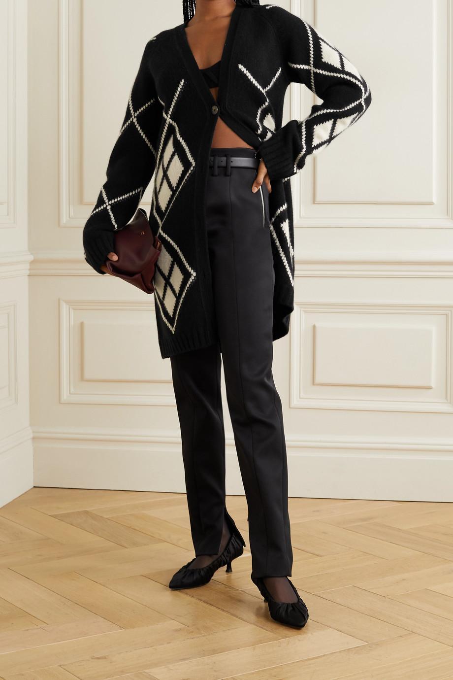 Khaite Klara oversized argyle cashmere cardigan