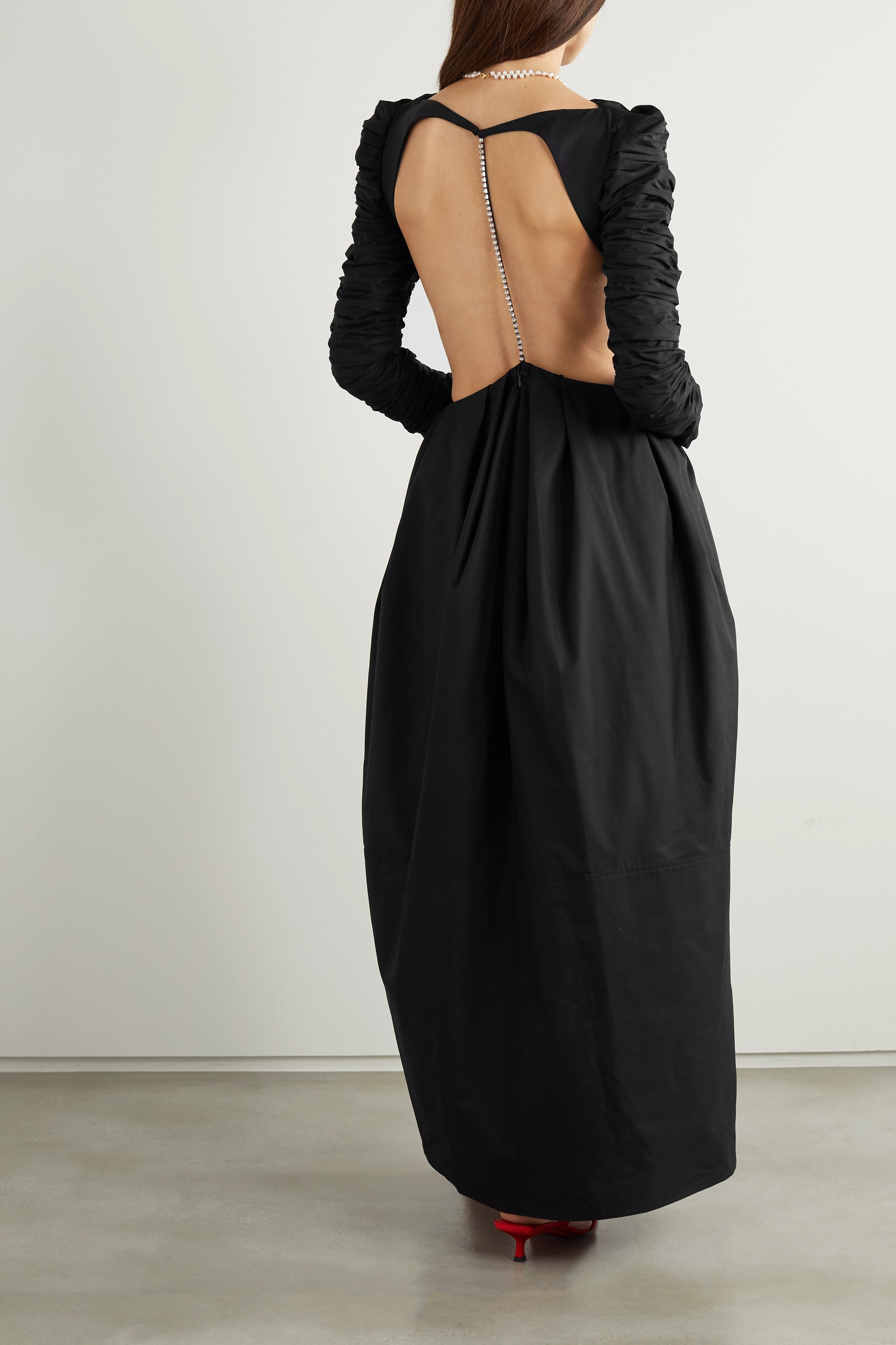 Khaite Rosaline cutout crystal-embellished ruched twill gown