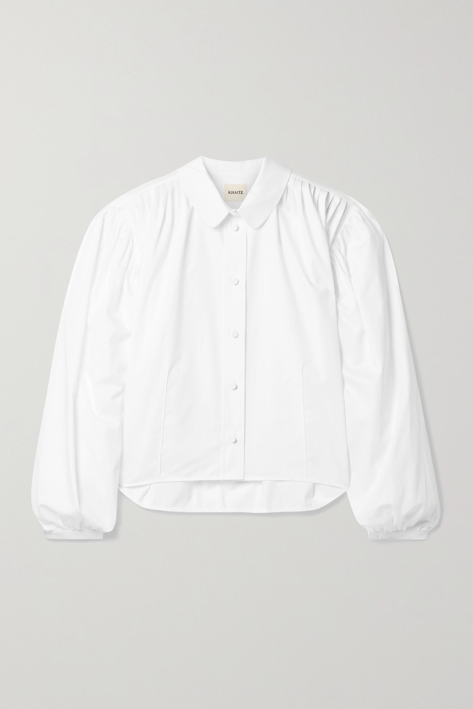 Khaite Carolanne pleated cotton-poplin shirt