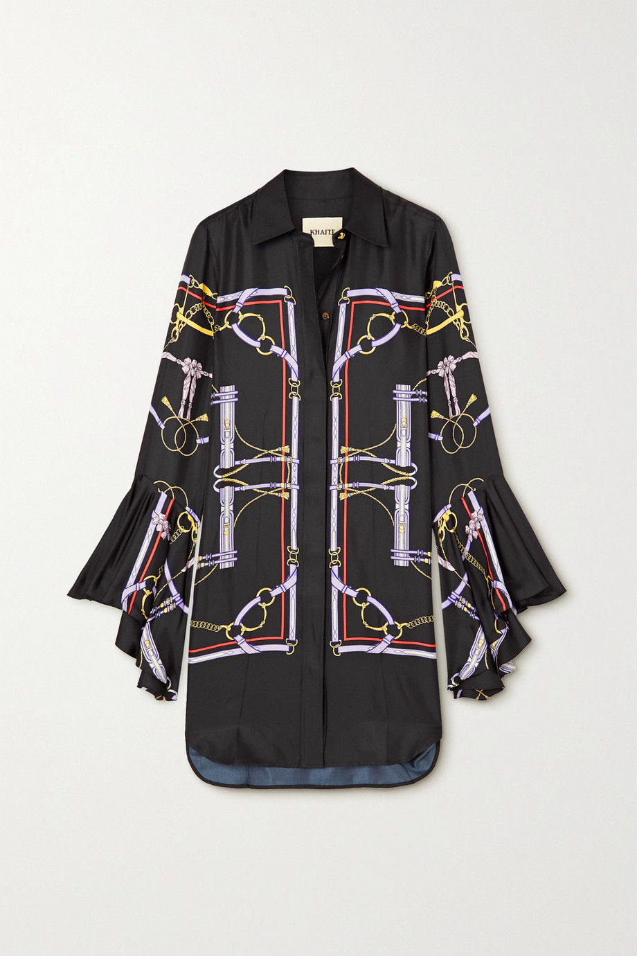Khaite Ascher ruffled printed silk-satin shirt