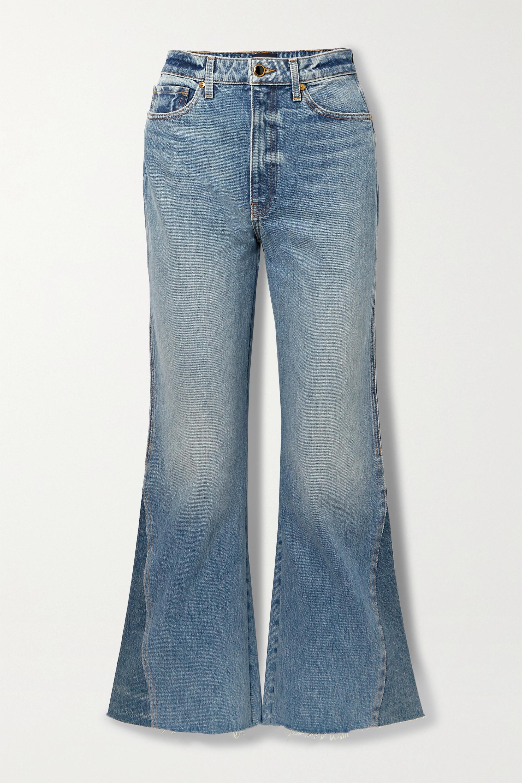Khaite Layla paneled cropped high-rise flared jeans