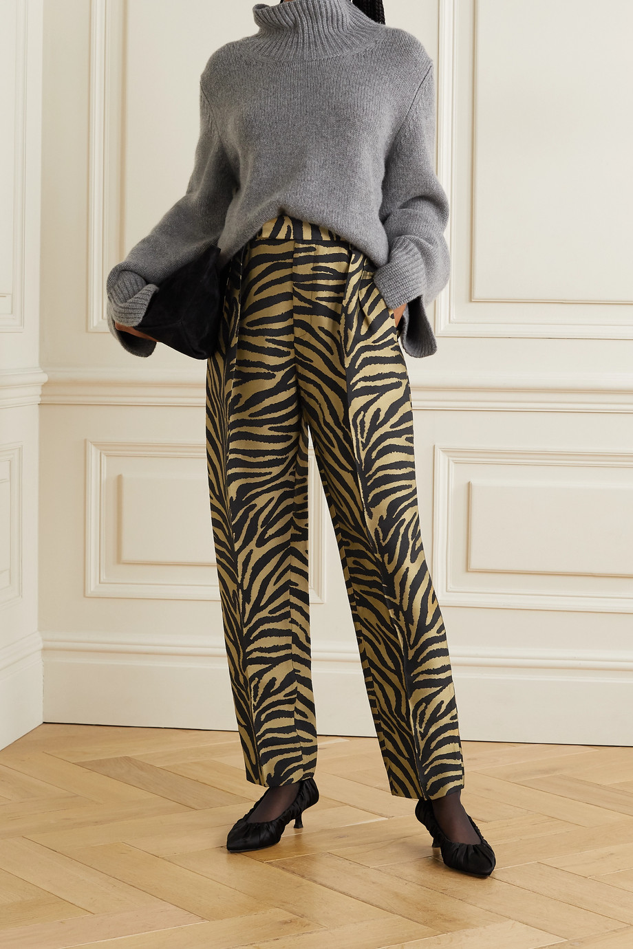 Khaite Magdeline pleated metallic zebra-jacquard straight-leg pants