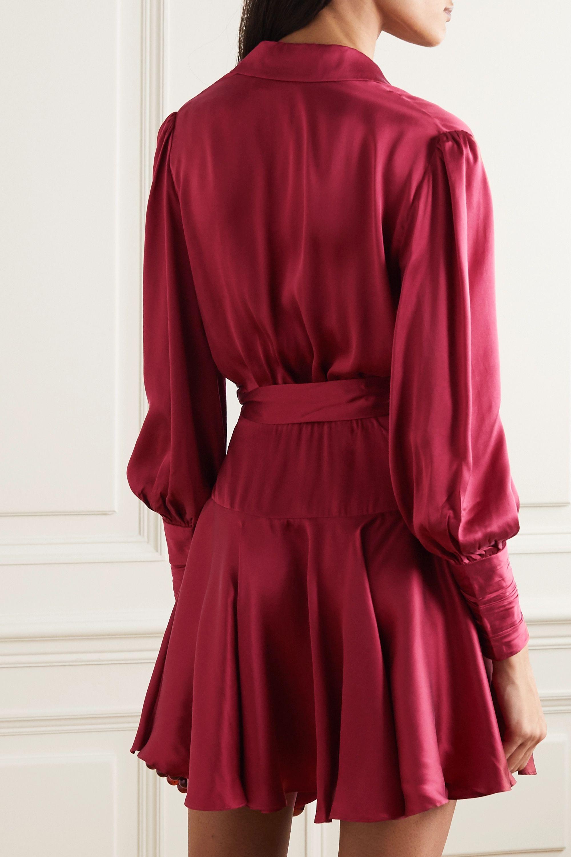 Zimmermann Mini-robe portefeuille en satin de soie à godets